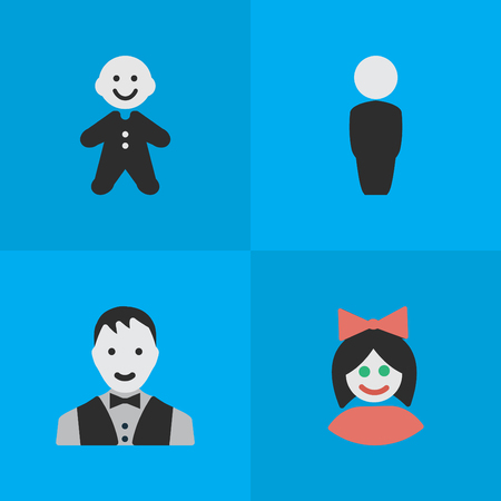 Vector Illustration Set Of Simple Profile Icons. Elements Guy, Person, Girl And Other Synonyms Man, Guy And Female.