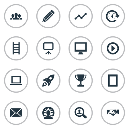 Vector Illustration Set Of Simple Startup Icons. Elements Global Business, Company, Computer And Other Synonyms Report, Frame And Team.