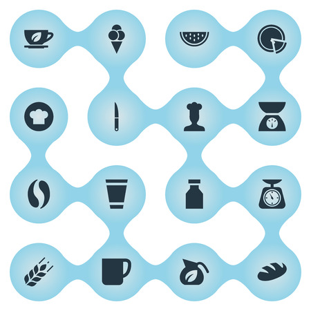 Elements Coffee, Cup, Dessert And Other Synonyms Cook, Knife And Culinary.  Vector Illustration Set Of Simple Kitchen Icons. 向量圖像