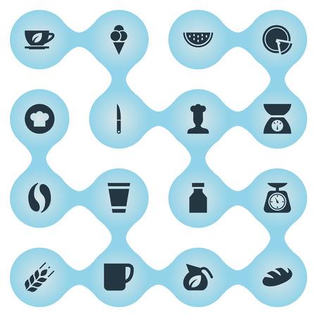 Léments Café, Tasse, Dessert et autres synonymes Cuisiner, couteau et culinaire. Vector Illustration Set d'icônes de cuisine simple. Banque d'images - 86096575