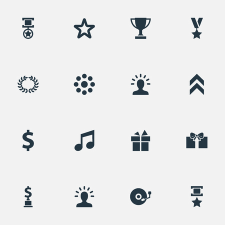 Elements Wreath, Loading, Dollar And Other Synonyms Conquering, Triumph And Vinyl.  Vector Illustration Set Of Simple Achievement Icons.