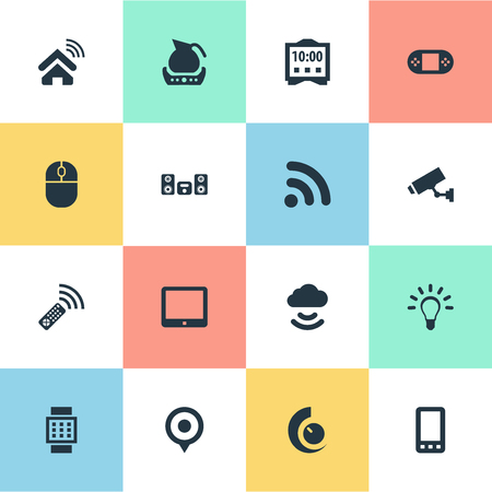 Elements Surveillance, Multimedia Center, Storage Acceess And Other Synonyms Internet, Wifi And Phone.  Vector Illustration Set Of Simple Device Icons.