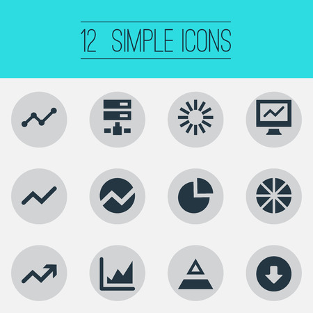 Elements Analytics, Triangle, Pie Chart And Other Synonyms Radial, Report And Pie.  Vector Illustration Set Of Simple Data Icons.