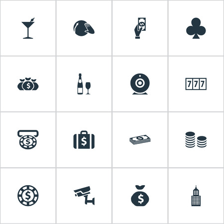Elements Cross, Chip, Moneybag And Other Synonyms Supervision, Pile And Star.  Vector Illustration Set Of Simple  Icons.