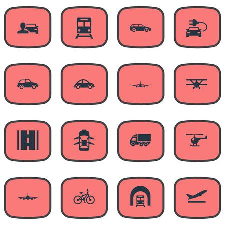 要素の高速道路、バイク、小型自動車、他類義語飛行機自動車と出発。 単純な交通機関アイコンのベクター イラスト セット。