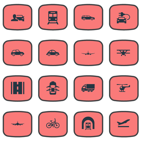 Elements Highway, Bike, Small Automobile And Other Synonyms Plane, Automobile And Departure.  Vector Illustration Set Of Simple Transport Icons. Фото со стока - 86096606