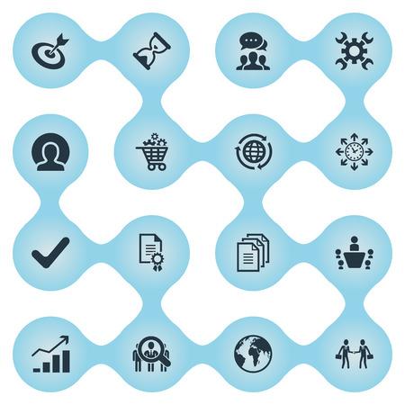 タイミングの要素、協力、ヘッドハンティング、他類義語ビジネス管理と砂時計。 シンプル プランのアイコンのベクトル イラスト セット。