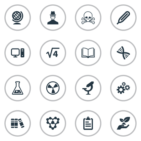 Elementen Biologie, Molecuul, Toxische Stof en Andere Synoniemen Wetenschap, Informatie en Boek. Vector illustratie Set van eenvoudige studie iconen.