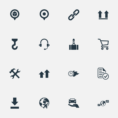 Elements Report, Renovation, Direction Arrows And Other Synonyms Time, Earphone And Crane.  Vector Illustration Set Of Simple Logistics Icons. Illustration