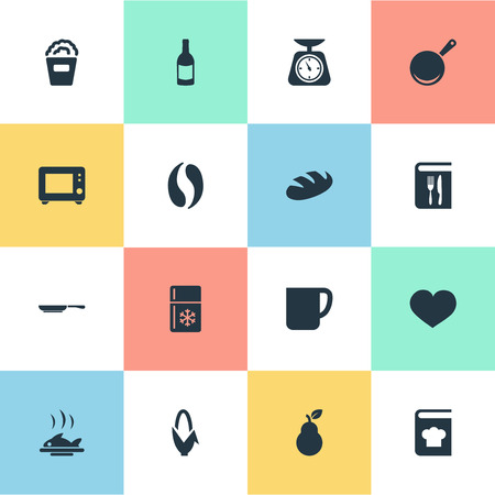 Elements Skillet, Passion, Cinema And Other Synonyms Loaf, Scale And Passion.  Vector Illustration Set Of Simple Preparation Icons.
