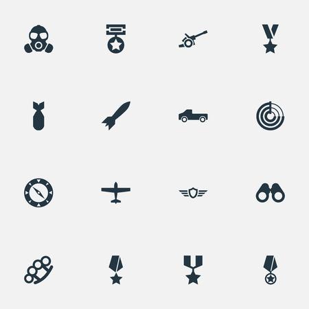 要素の授与、平面、ビジョンや他の類義語輸送パンチと方向。 単純な戦争のアイコンのベクトル イラスト セット。
