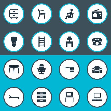Elements Transmission, Flat-Screen, Bedroom And Other Synoniemen Container, tafel en tv. Vectorillustratiereeks Eenvoudige Meubilairpictogrammen. Stock Illustratie