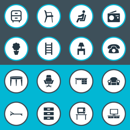 Elements Transmission, Flat-Screen, Bedroom And Other Synonyms Container, Table And Tv.  Vector Illustration Set Of Simple Furniture Icons.