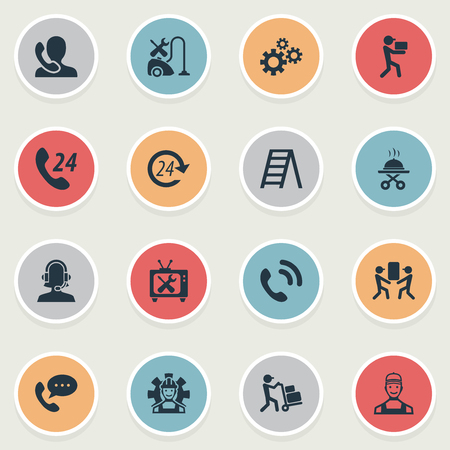 Elements Industry, Call Center, Moving And Other Synonyms Phone, Tool And Warranty.  Vector Illustration Set Of Simple Help Icons. Illustration