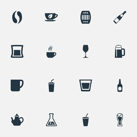Elements Mug, Cup, Whiskey And Other Synonyms Teapot, Kettle And Coffee.  Vector Illustration Set Of Simple Beverage Icons. Illustration