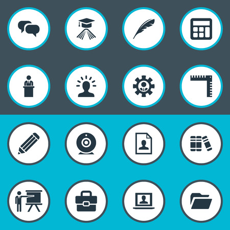 Elements Profile, Measurement, Master Degree And Other Synonyms Degree, Message And Lecturer.  Vector Illustration Set Of Simple Speaker Icons.