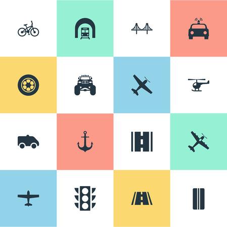 要素レース、道路、高速道路、その他のシノニム レース、ヴァンし、船します。 単純な交通機関アイコンのベクター イラスト セット。