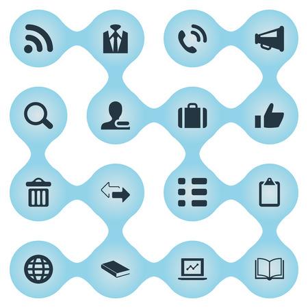 Elementen Rubbish Can, Note Pad, Planet And Other Synoniemen Literature, Chart And Screen. Vector illustratie Set van eenvoudige conferentie iconen. Stock Illustratie