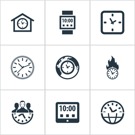 Elements Equipment, Global Time, Tablet And Other Synonyms Watch, Tablet And Management.  Vector Illustration Set Of Simple Time Icons.