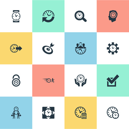 Elements Multitasking, Sync, Hurry And Other Synonyms Wristwatch, Maintenance And Recurrence.  Vector Illustration Set Of Simple Management Icons.
