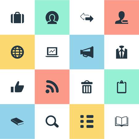 要素の検索、タスク、スーツケースおよび他の類義語シート惑星とビジネス。 単純な相互作用アイコンのベクター イラスト セット。