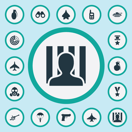 Elements Walkie-Talkie, Gas Mask, Aircraft And Other Synonyms Ratio, Prisoner And Sharpshooter.  Vector Illustration Set Of Simple Battle Icons.