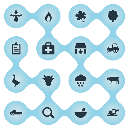 Elements Forecast, Cow, Wood And Other Synonyms Forest, Magnifier And List.  Vector Illustration Set Of Simple Agriculture Icons.