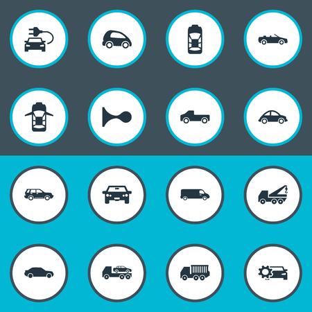 Elementos Coupe, Automotriz, Faucet y otros sinónimos Oval, carretera y motor. Ilustración vectorial Conjunto de iconos de transporte simple. Foto de archivo - 86225720