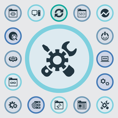 Vector Illustration Set Of Simple SEO Icons. Elements Browser, Power Button, Clipboard And Other Synonyms Personal, Pills And Detail. Illustration