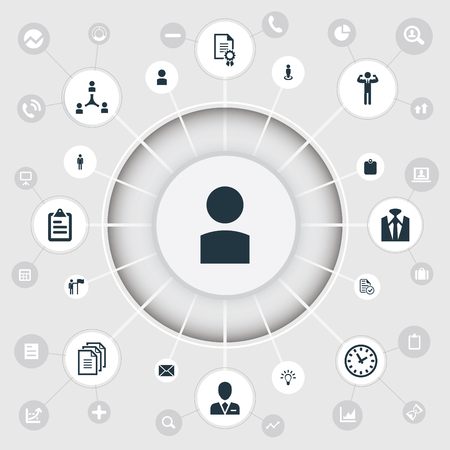 Vector Illustration Set Of Simple Hr Icons. Elements Letter, Record, Identification Card And Other Synonyms Employer, Identification And Man. Ilustração