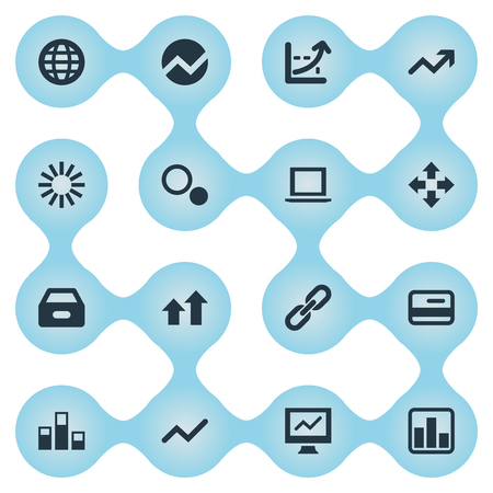 Elements Drawer, Data, Chain And Other Synonyms Finance, Credit And Surge.  Vector Illustration Set Of Simple Analysis Icons.