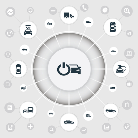 Elements Carting, Transport Cleaning, Van And Other Synonyms Power, Shipment And Trucking.  Vector Illustration Set Of Simple Automobile Icons.