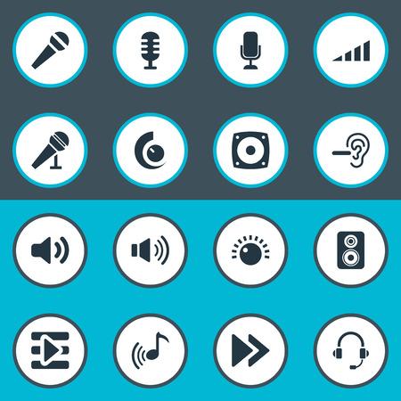 Elements Transmitter, Mike, Service de support et autres synonymes, casque, audio et studio. Illustration vectorielle définie des icônes sonores simples. Banque d'images - 86225739