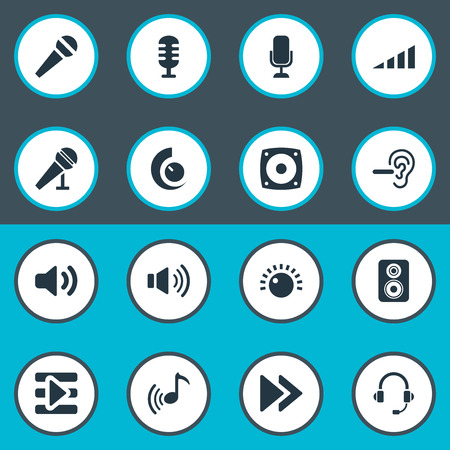 aural: Elements Transmitter, Mike, Support  Service And Other Synonyms Headset, Audio And Studio.  Vector Illustration Set Of Simple Sound Icons. Illustration