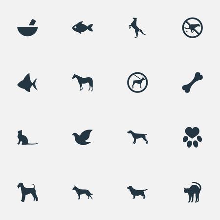 벡터 일러스트 레이 션 간단한 동물 아이콘의 집합입니다. 요소 비둘기, 동물, 발자국 및 기타 동의어 Pounder, Dalmatian and Medicine. 일러스트