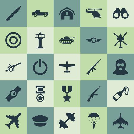 Vector Illustration Set Of Simple Military Icons. Elements Warehouse, Molotov, Helicopter And Other Synonyms Truck, Control And Watch. Stock Vector - 86225757
