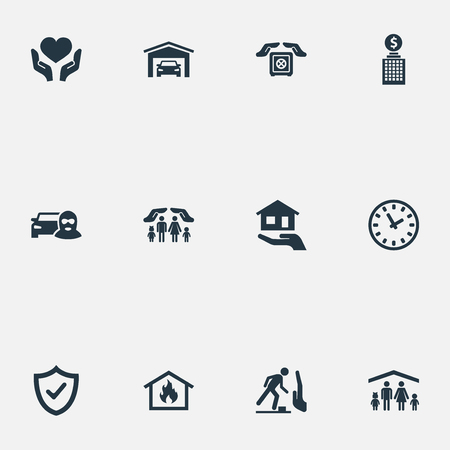 Vector Illustration Set Of Simple Safeguard Icons. Elements Car Thief, Vehicle Assurance, Protection And Other Synonyms Safety, Property And Protection.
