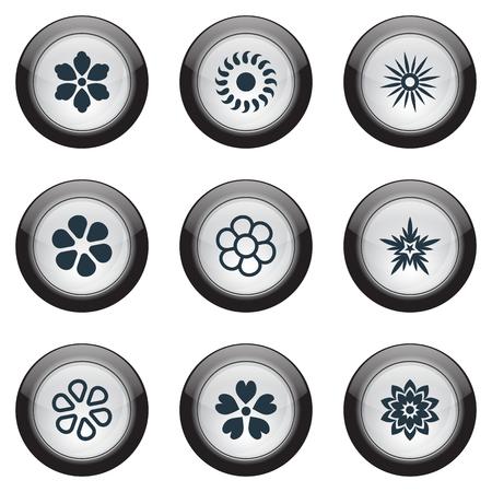 벡터 일러스트 레이 션 간단한 꽃 아이콘의 집합입니다. 요소 패턴, 재 스민, 마 게 릿 및 다른 동의어 영광, 장식 및 꽃입니다.