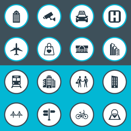 Vector Illustration Set Of Simple Public Icons. Elements Polyclinic, Apartment, Pin And Other Synonyms Home, Velocipede And Megapolis. Illustration