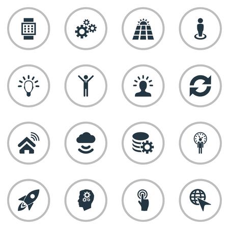 Vectorillustratiereeks Eenvoudige Oplossingspictogrammen. Elementen Remote Storage, Innovation, Solar Energy And Other Synoniemen Deadline, Refresh And Choose.
