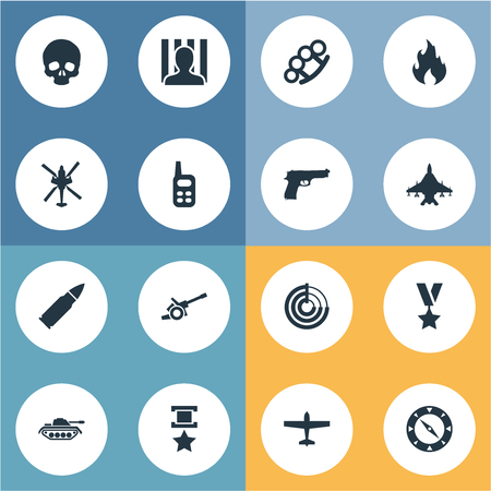 Illustrazione vettoriale Set di icone semplici di guerra. Elementi Compass, Walkie-Talkie, Veleno e altri sinonimi Granata, trasporto e condanna. Archivio Fotografico - 86225784