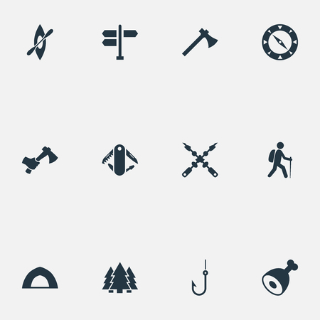 Vector Illustration Set Of Simple Tourism Icons. Elements Direction Pointer, Hatchet, Woods And Other Synonyms Barbecue, Forest And Tourist.