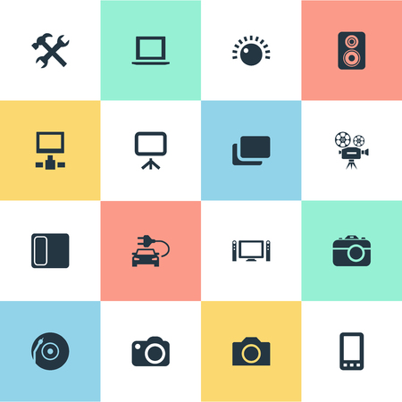 Vector Illustration Set Of Simple Hardware Icons. Elements Laptop, Projector, Car And Other Synonyms Touchscreen, Car And Surveillance.