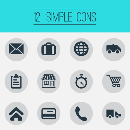 Vector Illustration Set Of Simple Handing Icons. Elements Online Transaction, Market Cart, Envelope And Other Synonyms Debit, Globe And Shop.