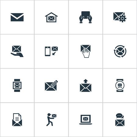 シンプルなメッセージアイコンのベクトルイラストセット。要素は、メッセージ、メッセージング、メイクアップと他の同義語の手、オフィス、イ
