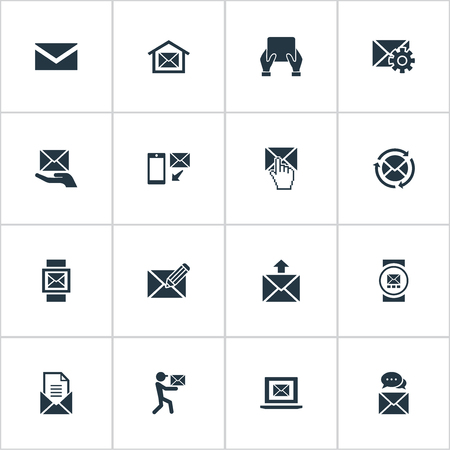 Vector Illustration Set Of Simple Message Icons. Elements Refresh Message, Messaging, Make Up And Other Synonyms Hand, Office And Internet.