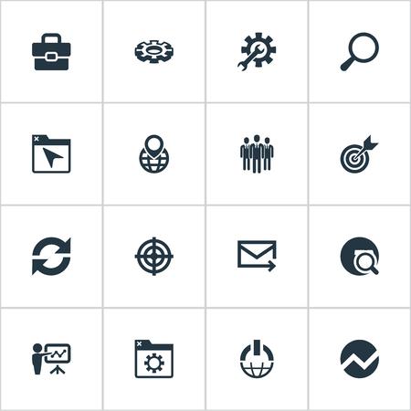 Illustrazione vettoriale Set di icone semplici di revisione. Elementi Dettagli, Opzione, Browser e altri sinonimi Presentazione, cartella e navigazione. Archivio Fotografico - 86225797