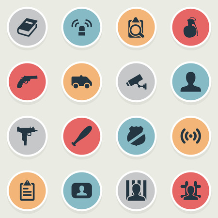 Vector Illustration Set Of Simple Crime Icons. Elements Person, Weapon, Checklist And Other Synonyms Alarm, Jail And Checkbox.