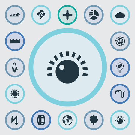 Vector Illustration Set Of Simple Ecology Icons. Elements Benzine, Safe Lightbulb, Globe And Other Synonyms Keg, Field And Thunderbolt.
