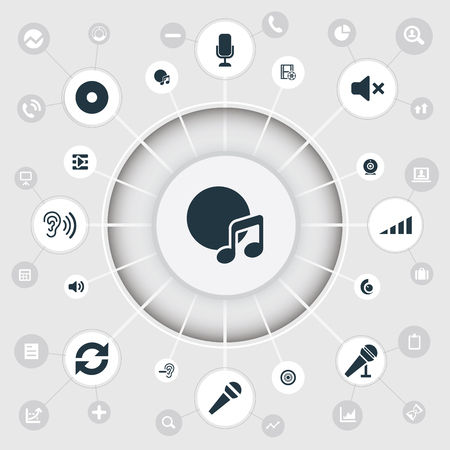 Vector Illustration Set Of Simple Dj Icons. Elements Scale, Cinema, Volume And Other Synonyms Studio, Amplifier And Compact.